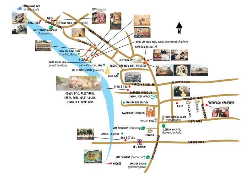 bản đồ minh họa wall art tại Bangkok