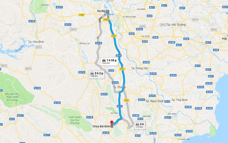 đường từ Hà Nội đi Bái Đính - Tràng An
