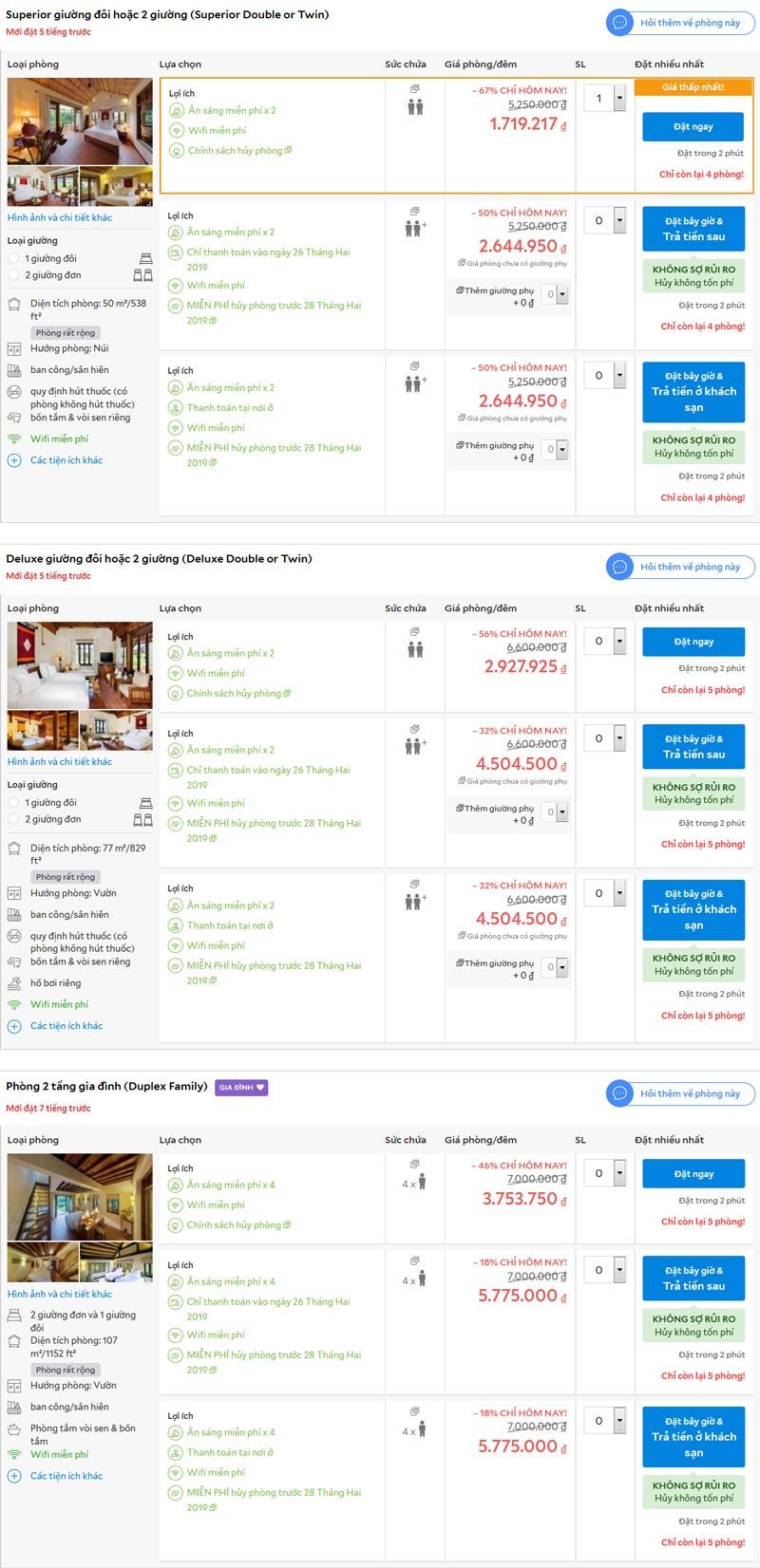 giá phòng Emeralda resort Ninh Bình trên agoda