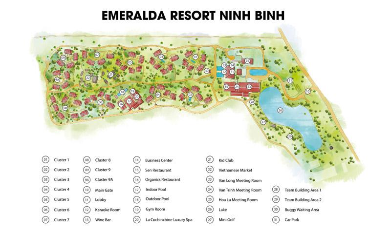 sơ đồ Emeralda Resort Ninh Bình
