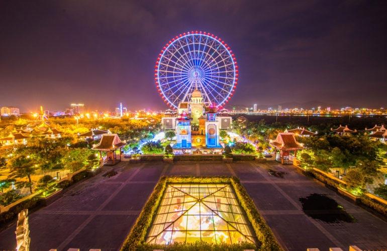 Trò chơi Sun Wheel vòng quay mặt trời công viên Châu Á
