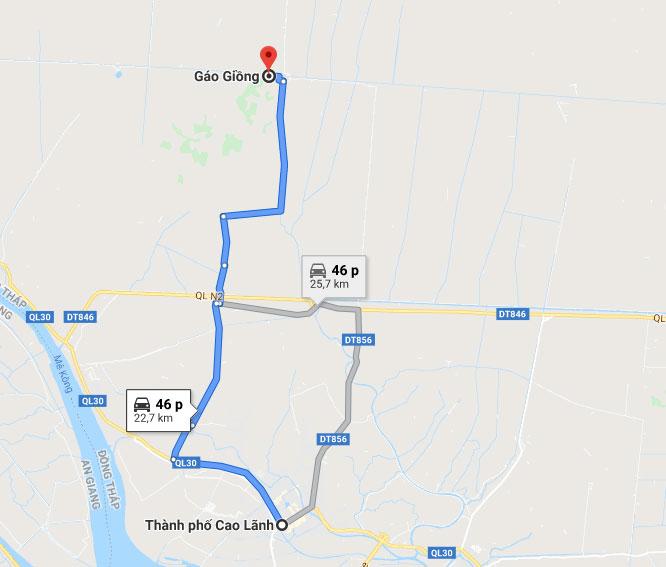 Đường đi khu du lịch Gáo Giồng